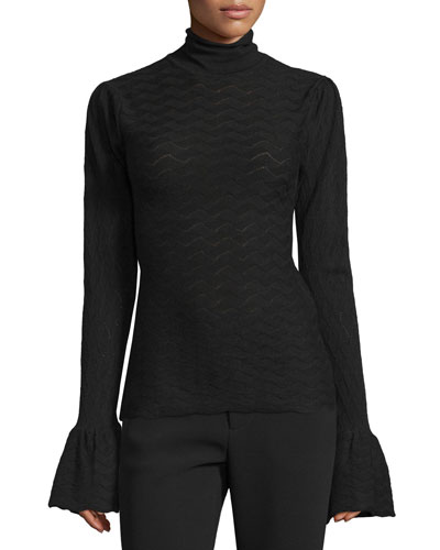 Long-Sleeve Textured Top, Black