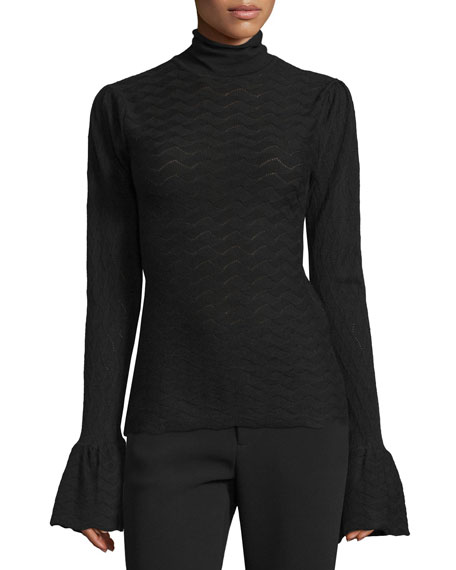 Co Long-Sleeve Textured Top, Black