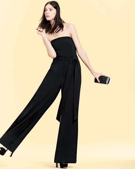 Strapless Belted Wide-Leg Jumpsuit, Black