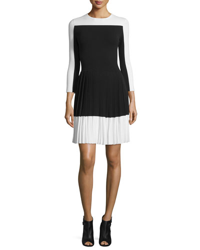 3/4-Sleeve Pleated-Skirt Dress, Black/White
