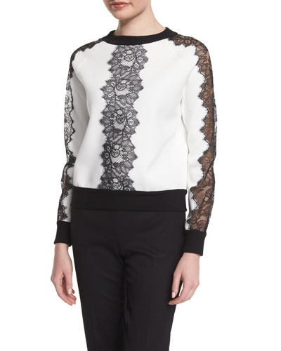 Long-Sleeve Sweater W/Lace Inset, White/Black