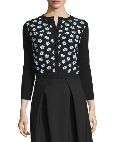 3/4-Sleeve Floral-Embellished Cardigan, Black/Green/White