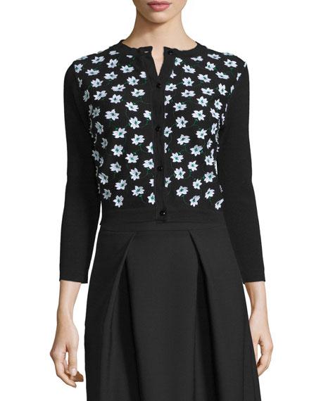 Carolina Herrera 3/4-Sleeve Floral-Embellished Cardigan,