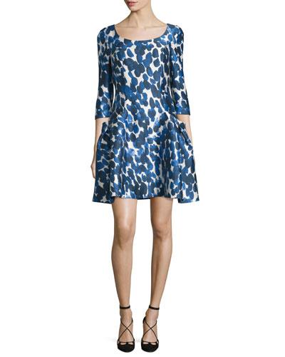3/4-Sleeve Petal-Print Party Dress, Cobalt