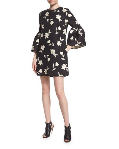 Bell-Sleeve Garden Party Dress, Black/Green/White