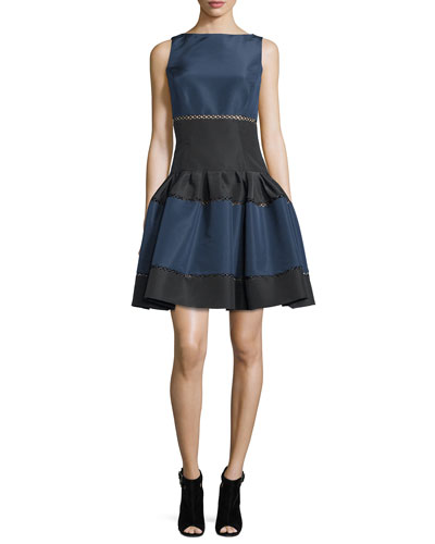 Sleeveless Colorblock Faille Party Dress, Black/Navy
