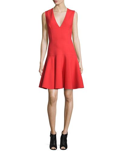 Sleeveless V-Neck Party Dress, Cayenne