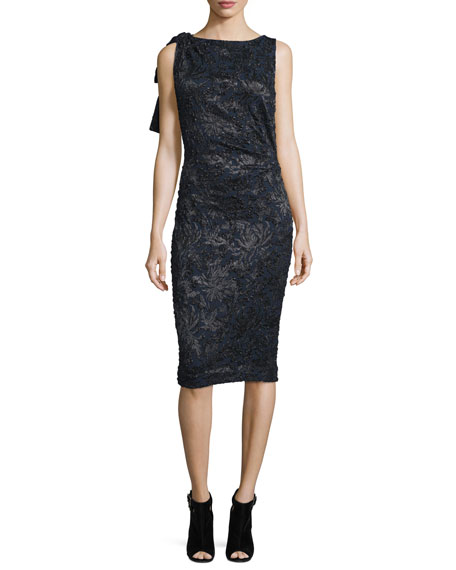 Carolina Herrera Sleeveless Embroidered Cocktail Dress, Black/Navy