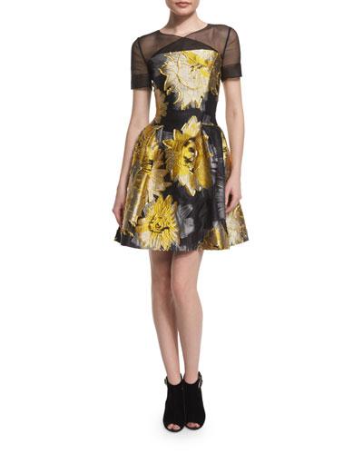 Short-Sleeve Sunflower Cocktail Dress, Yellow/Black