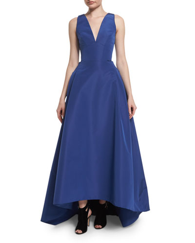 Sleeveless High-Low Faille Ball Gown, Cobalt