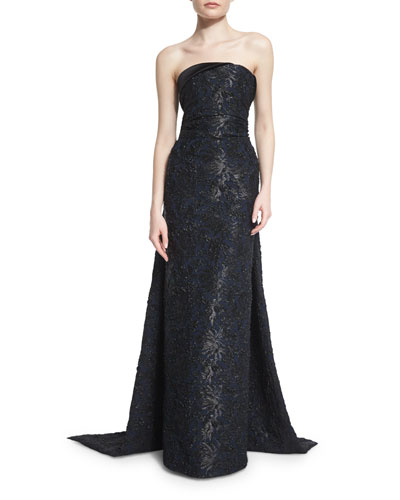 Strapless Draped-Back Evening Gown, Black/Navy