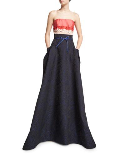 Strapless Floral-Embellished Colorblock Gown, Cayenne/Black/Blue