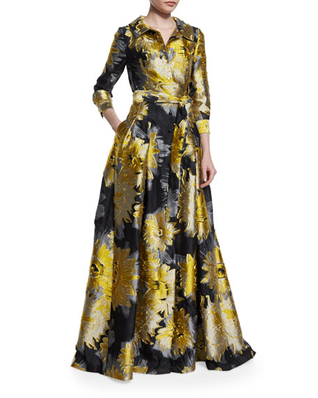 3/4-Sleeve Sunflower Trench Gown, Yellow/Black