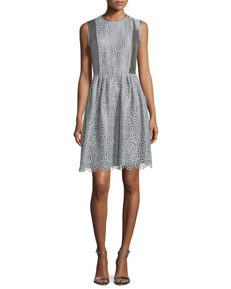 Sleeveless Metallic Macrame Dress, Gray/Multi