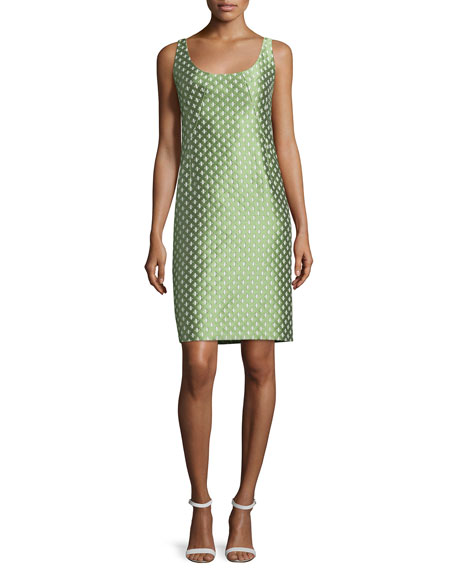 Armani Collezioni Scoop-Neck Diamond-Print Tank Dress, Chartreuse
