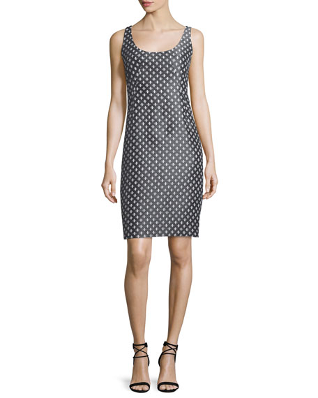 Armani Collezioni Diamond-Print Tank Dress, Gray/Multi