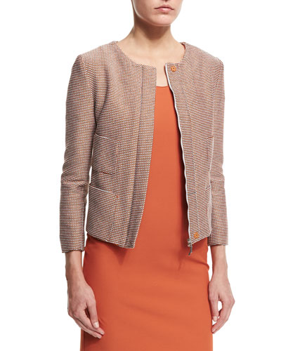Cotton-Blend Tweed Zip-Front Jacket, Sienna/Multi