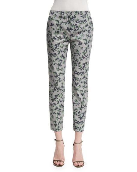 Armani Collezioni Mid-Rise Printed Capri Pants, Green/Multi