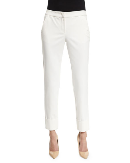 Armani CollezioniStretch-Cuff Slim-Leg Ankle Pants, White