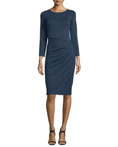 Bracelet-Sleeve Ruched-Skirt Dress, Indigo Blue