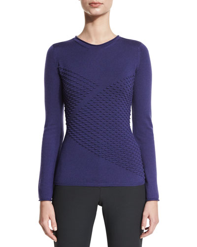 Long-Sleeve Diagonal Popcorn Knit Sweater, Imperial Purple