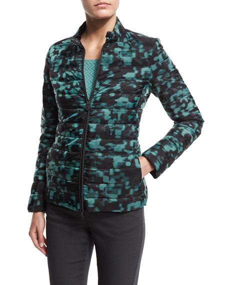 Armani Collezioni Zip-Front Puffer Jacket, Mint Green