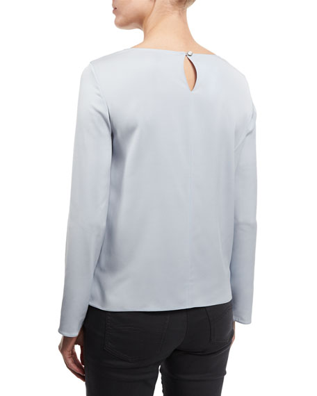 Long-Sleeve Round-Neck Silk Blouse, Light Blue