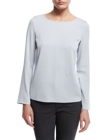 Armani Collezioni Long-Sleeve Round-Neck Silk Blouse, Light Blue