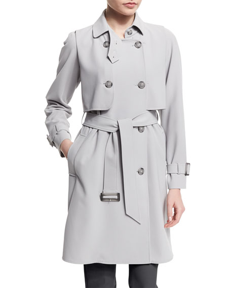 Armani Collezioni Calvary Double-Breasted Trenchcoat, Pearl Gray