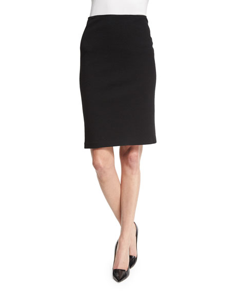 High-Waist Crepe Jersey Pencil Skirt, Black