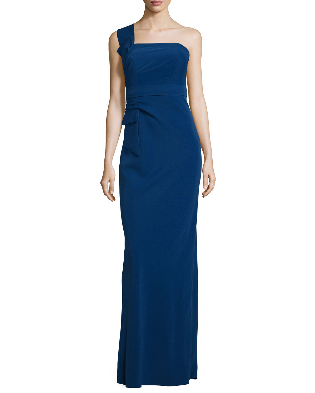 Armani Collezioni Asymmetric Cap-Sleeve A-Line Gown, Midnight ...
