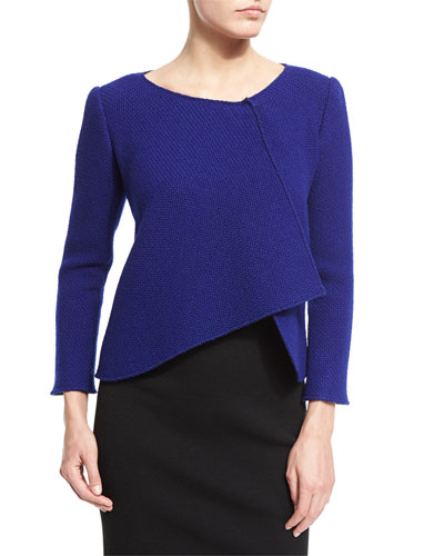 Asymmetric-Draped Swing Jacket, Royal Blue