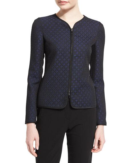 Armani Collezioni Zip-Front Slim-Fit Star Jacquard Jacket, Royal