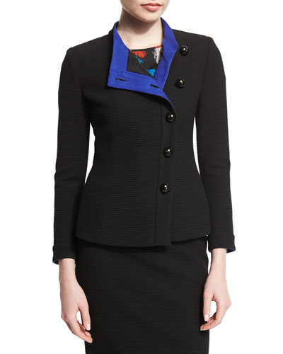 Asymmetric Button-Front Ottoman Jacket, Black