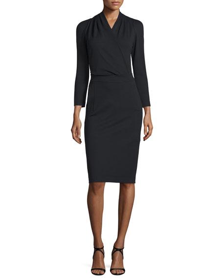 Armani Collezioni Bracelet-Sleeve Surplice-Front Dress, Black