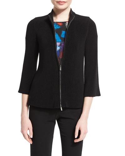 Zip-Front Plisse Trapeze Jacket, Black