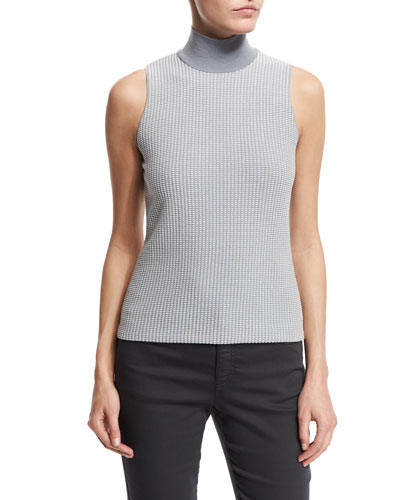 Sleeveless Micro-Square Sweater, Gray/Multi
