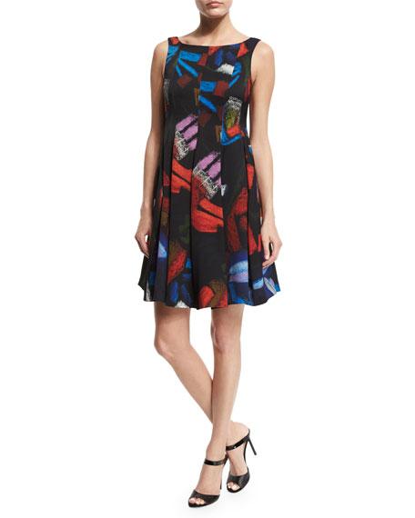 Armani Collezioni Sleeveless Printed Envers Fit-&-Flare Dress