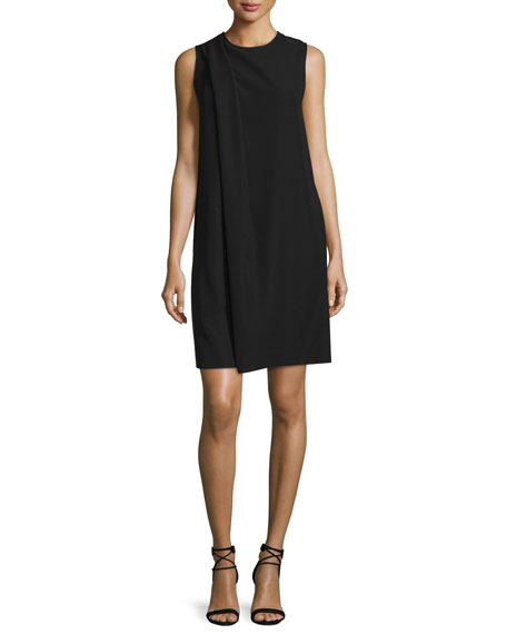 Armani Collezioni Sleeveless Drape-Front Shift Dress, Black