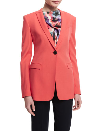 Textured One-Button Slim-Fit Jacket, Matisse Red