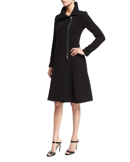 Long-Sleeve Asymmetric-Zip Coat Dress, Black