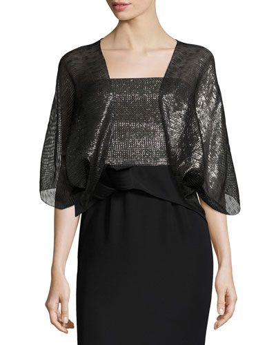 Metallic 3/4-Sleeve Evening Bolero, Black