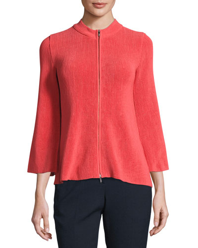 Lisse Trapeze-Sleeve Zip Jacket, Matisse Red