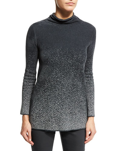 Mock-Neck Ombre Houndstooth Sweater, Pewter Gray