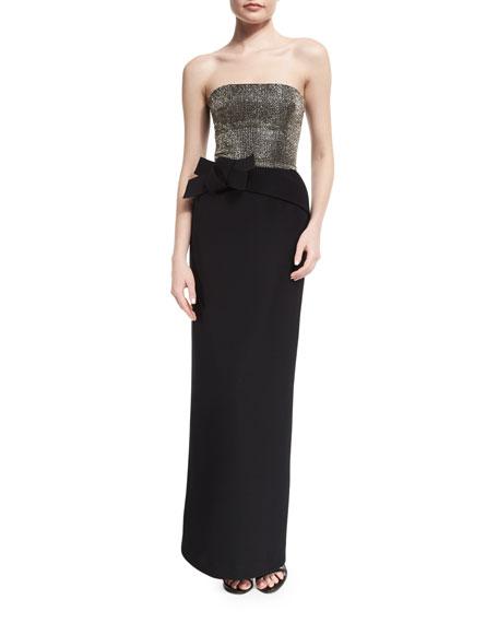 Armani Collezioni Strapless Embellished-Bodice Column Gown, Black