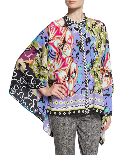 Patchwork Graffiti-Print Button-Front Poncho Blouse, Black/Purple