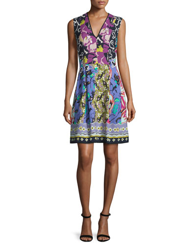 V-Neck Floral-Patchwork Cady Sheath Dress, Blue/Purple