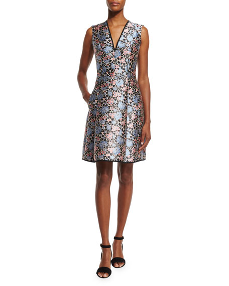 Etro Sleeveless Floral-Print Fit-and-Flare Dress, Blue/Pink