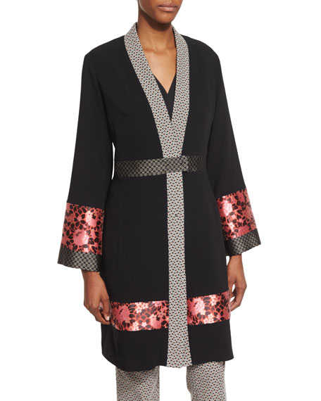 Etro Long-Sleeve Kimono Topper Coat, Long-Sleeve Two-Tone Caftan