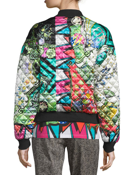 Arcade-Print Quilted Bomber Jacket, Green